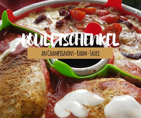 Pouletschenkel an Champignons-Rahm-Sauce und Kartoffelgratin aus dem OMNIA